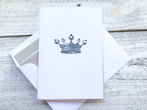 Crown Note Cards, Princess Stationery, Queen Handmade Note Cards