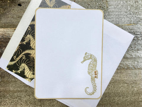 Sea Horse Note Cards Sea Horse Stationery Personalized Note Cards Personalized Stationery Thank You Cards Note Cards Nautical Beach Set of 8