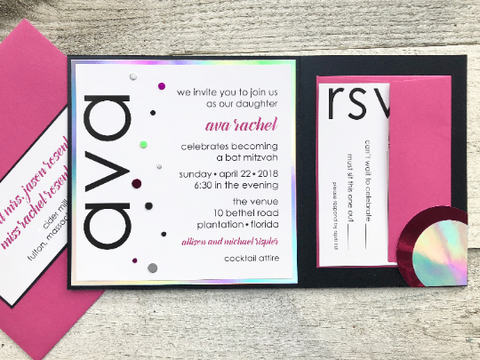 Modern Bat Mitzvah Invitation, Bat Mitzvah Invitation, Contemporary Invitation, Birthday Invitation, Quinceañera