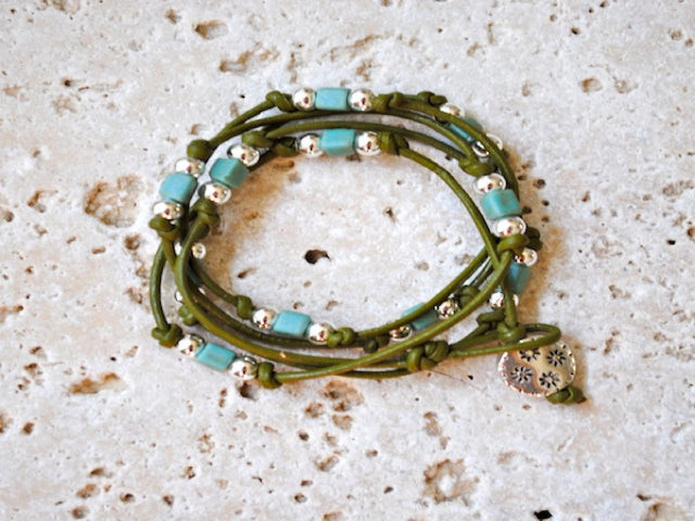 Turquoise and Silver Bead Wrap Bracelet, Anklet or Choker on Olive Green Leather