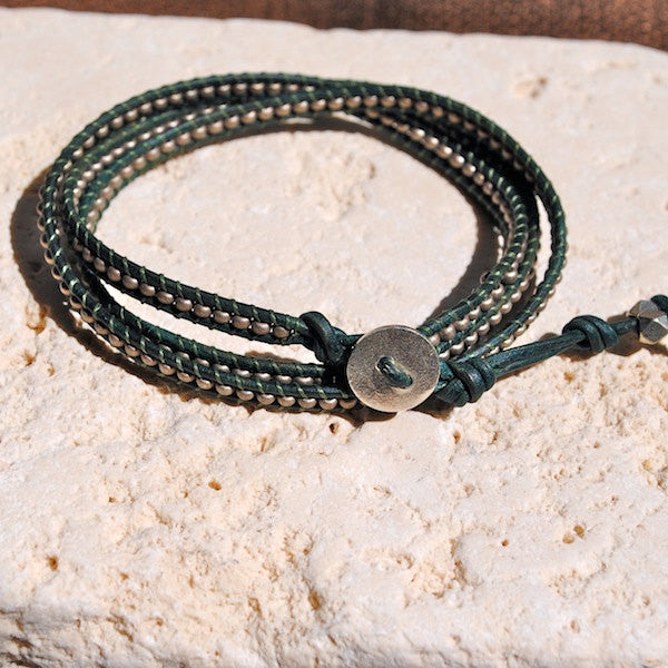 Teal Three Wrap Leather Bracelet with Silver Seed Beads, Silver Button and Silver Nuggets