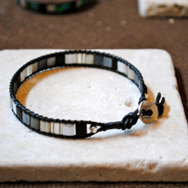 Mosaic Style Handmade Single Wrap Bracelet with Black Tila Beads, Black Leather and a Silver Scoop Button