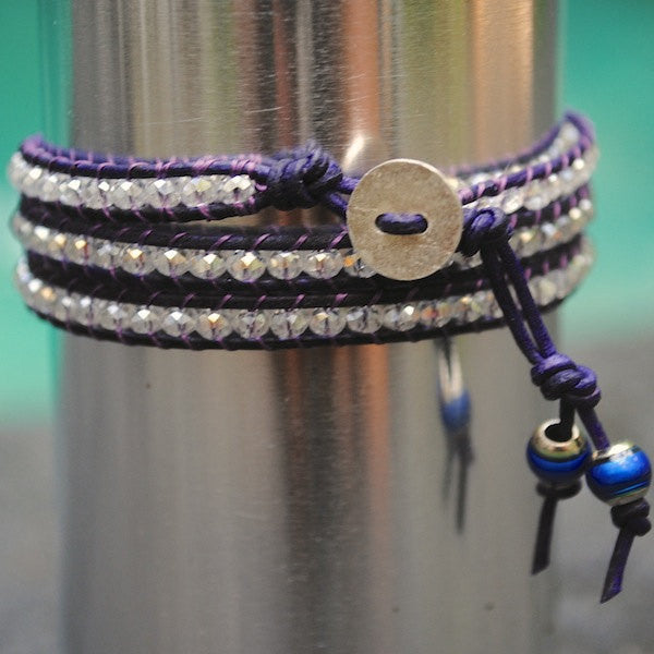Purple Leather and Crystal Wrap Bracelet, Sterling Silver Hill Tribe Button, Mood Stone Nuggets