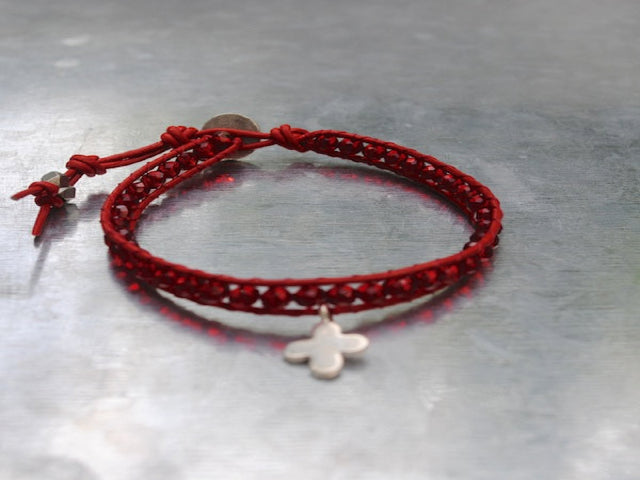 Red Leather Single Wrap Bracelet with Red Faceted Beads, Hill Tribe Silver Cross and a Silver Button