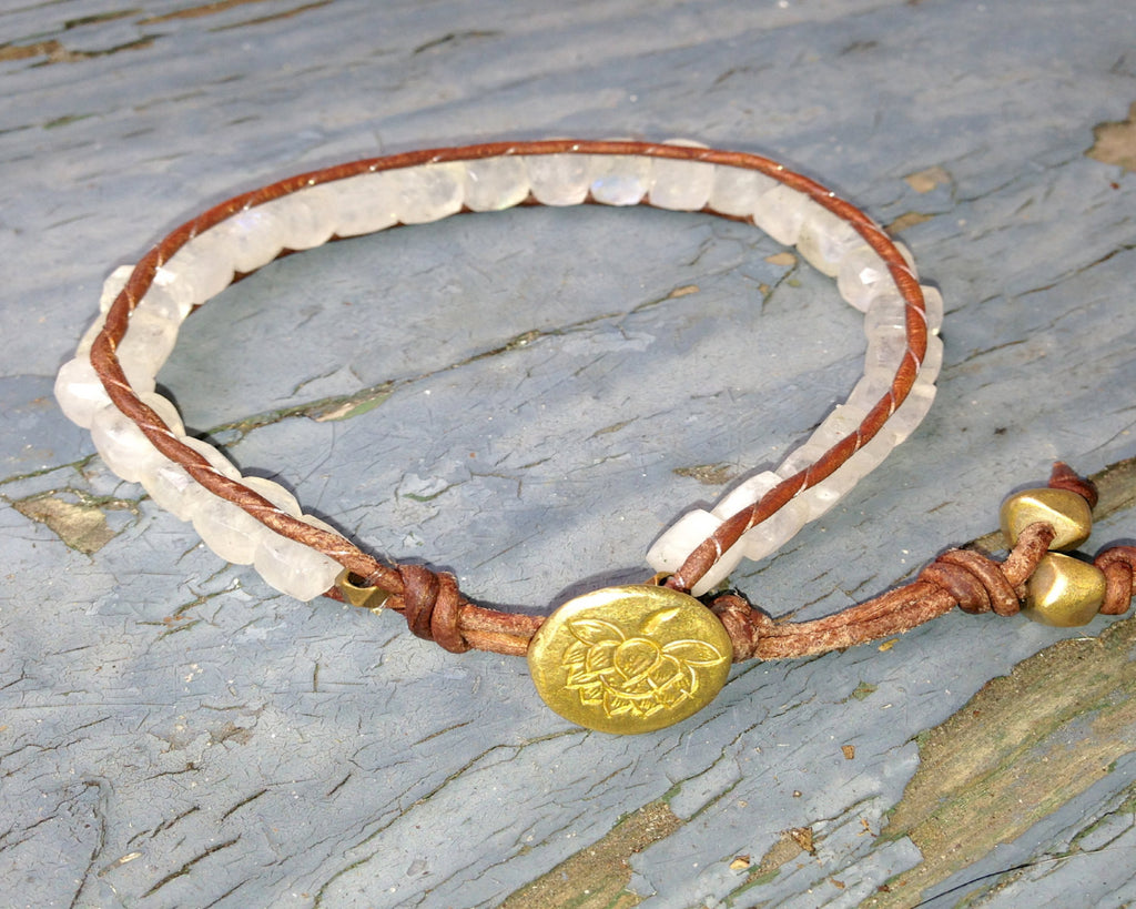 Single Wrap Brown Leather Bracelet with Moonstone Cubes, a Brass Lotus Button and Brass Nuggets