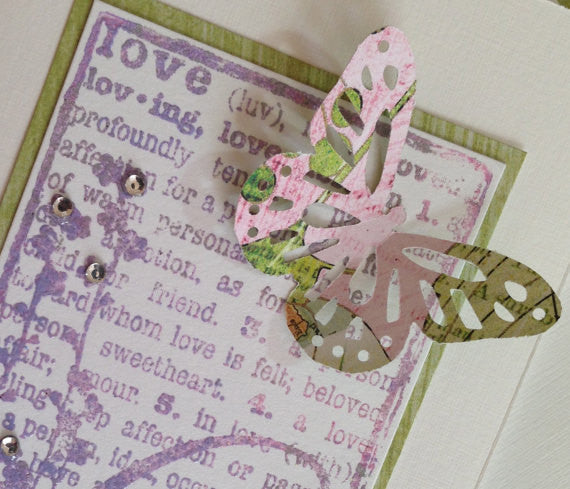 Handmade Folded Cards with Swarovski Crystals and 3D Butterfly