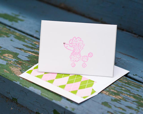 Poodle Note Cards, Dog Note Cards, Poodle Stationery, Pink Poodle Note Cards, Personalized Stationery, Dog Lover Stationery, Set of 8