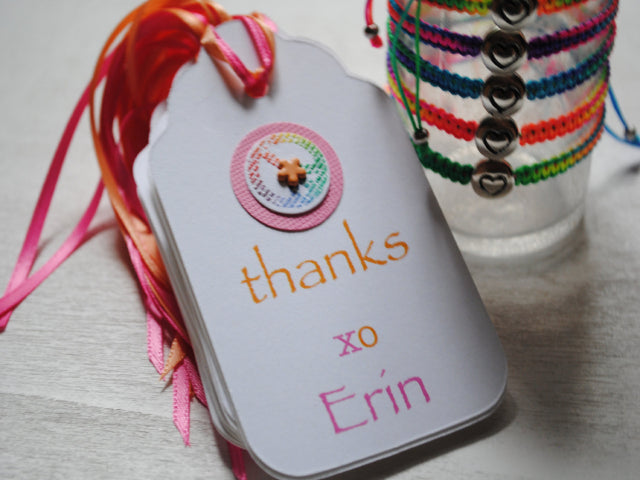 Personalized Gift Tags, Colorful and Bright, Handmade, Peace Sign Embellishment, Adorned with Bead