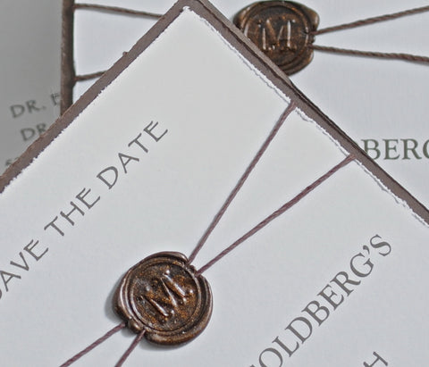 Save the Date, Save the Date with Wax Seal, Invitation with Wax Seal, Vintage Save the Date