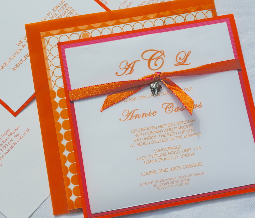 Bat Mitzvah Invitations, Sweet Sixteen and Birthday, Modern Intricate Design with Vellum, Ribbon and Charm, 6