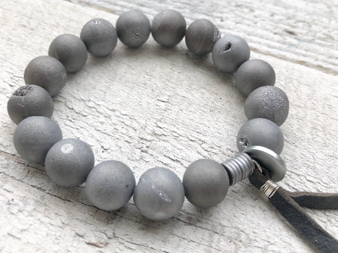 Grey Druzy Agate Bracelet - Grey Bracelet - Beaded Bracelet - Women's Jewelry - Men's Jewelry - Girlfriend's Gift
