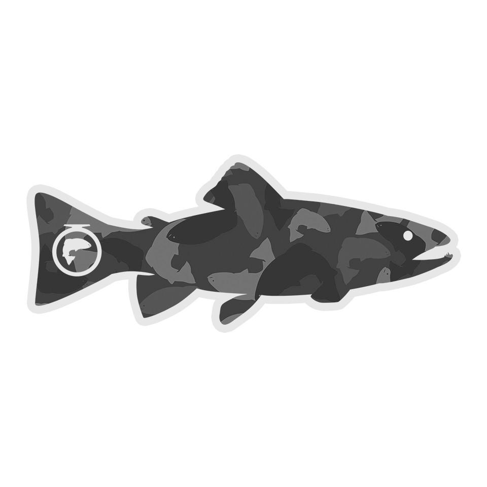 "5"" Gray Trout Camofish Clear Sticker (Outdoor Use)"