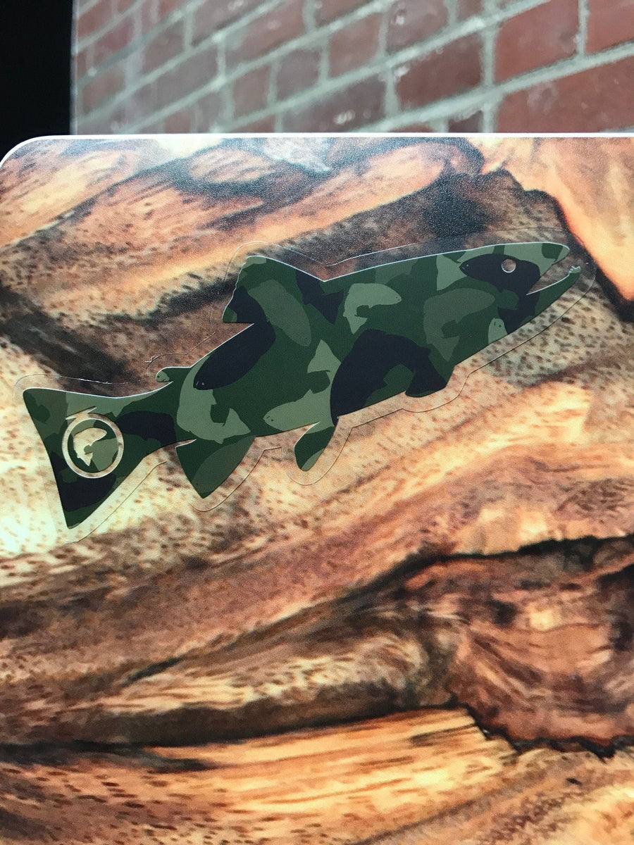 "5"" Green Trout Camofish Clear Sticker (Outdoor Use)"