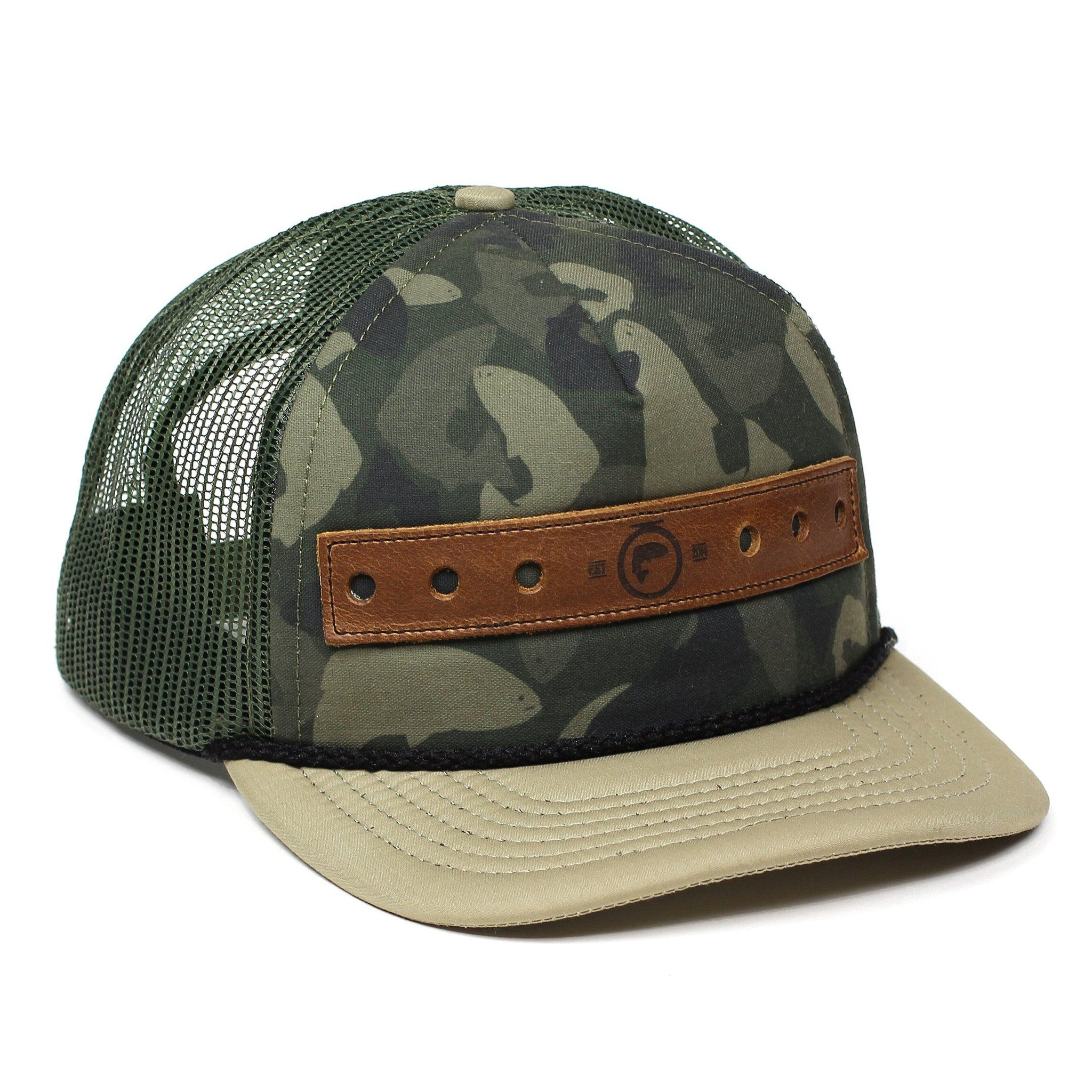 Fly fishing hats fly fishing trucker hat camofish print for Mesh fishing hats