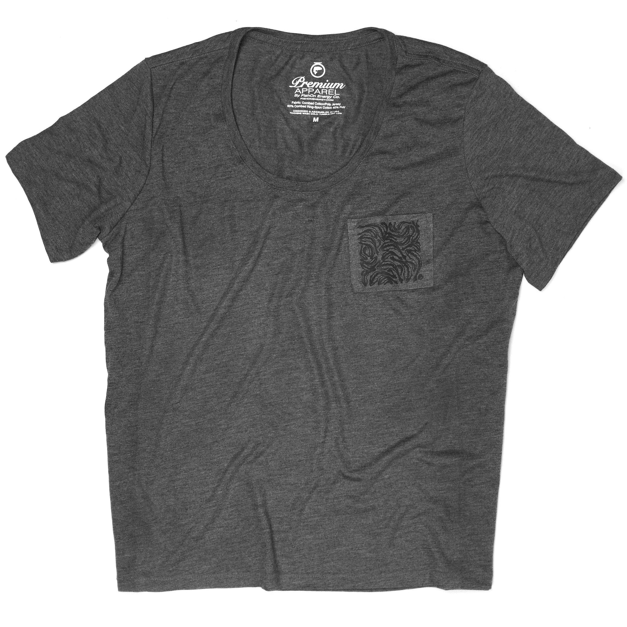 Trout Print Pocket Tee - Dark Gray