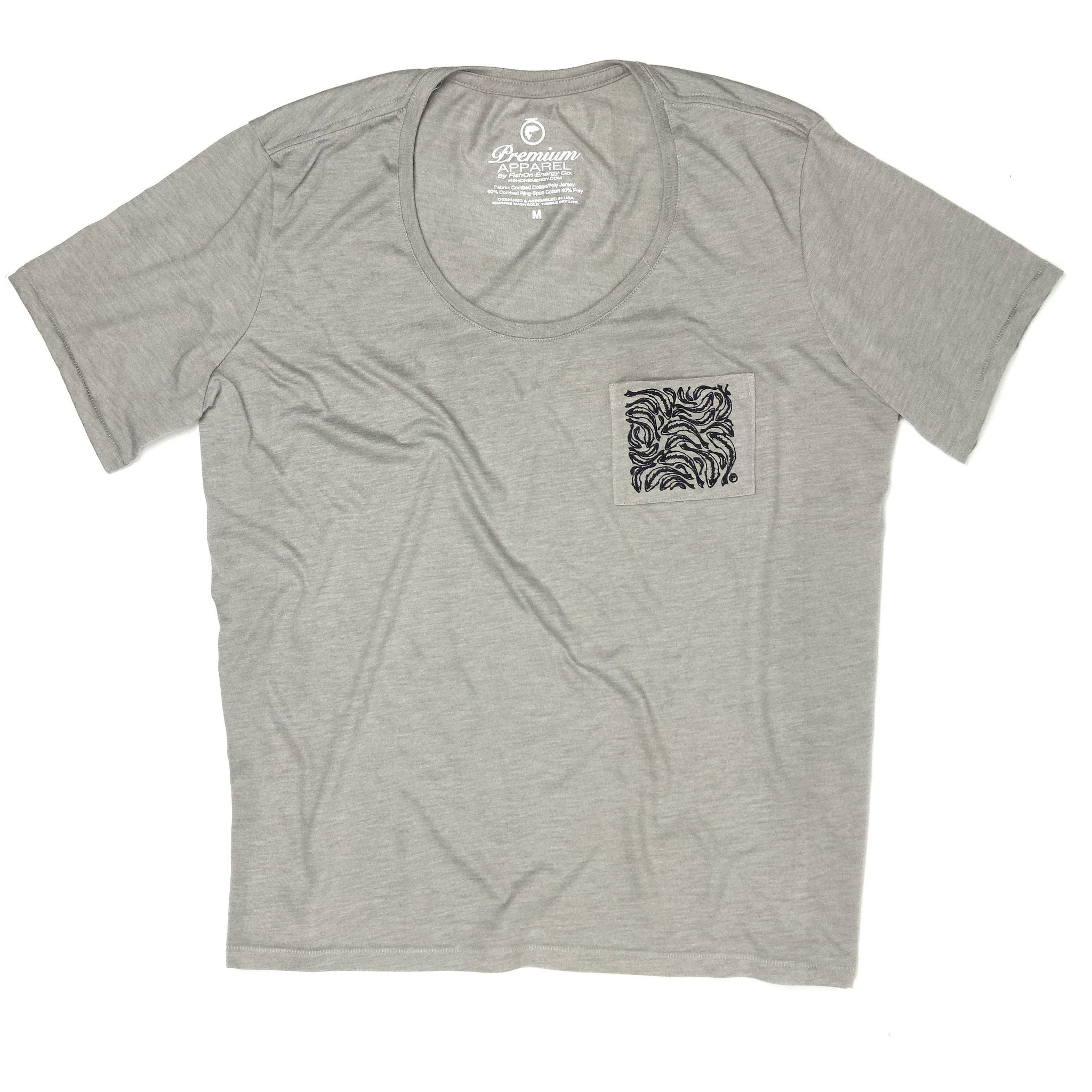 Trout Print Pocket Tee - Stone