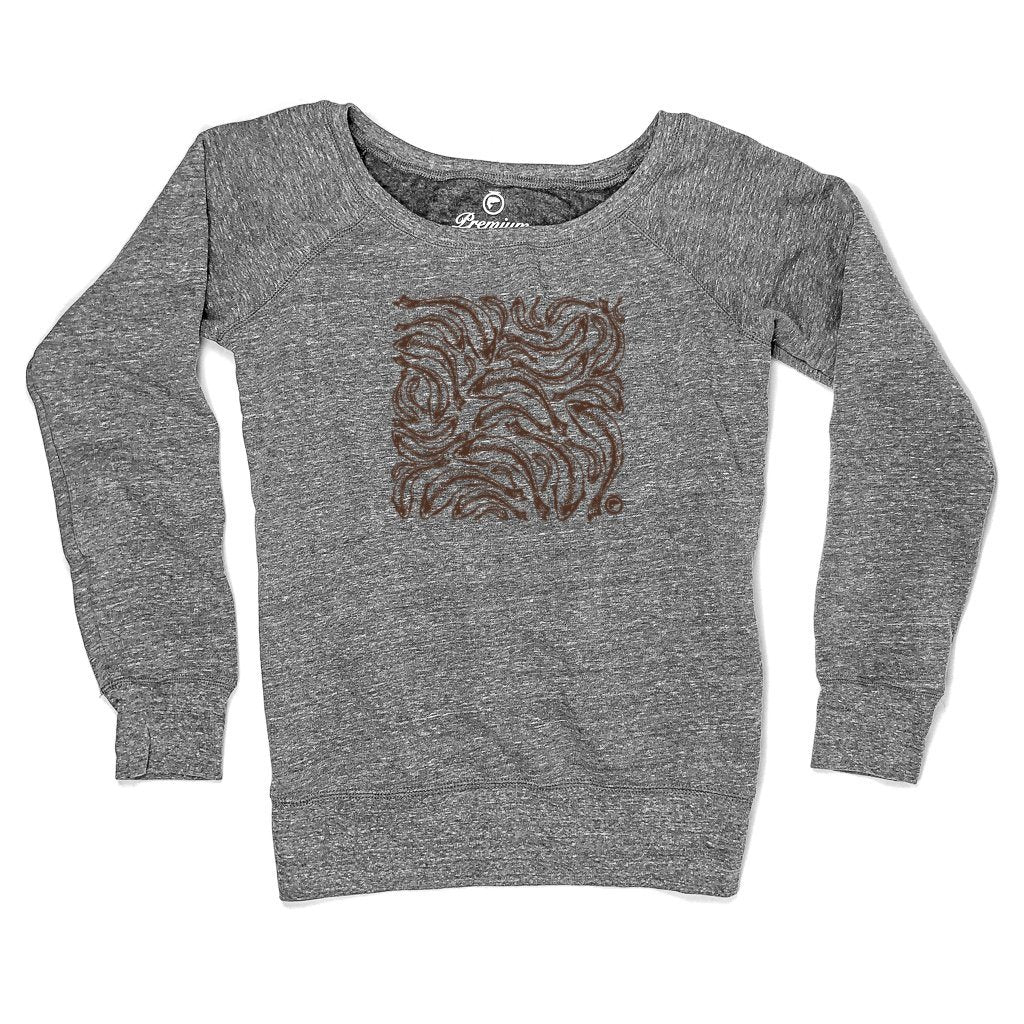 Trout Print Fleece Sweatshirt - Ladies