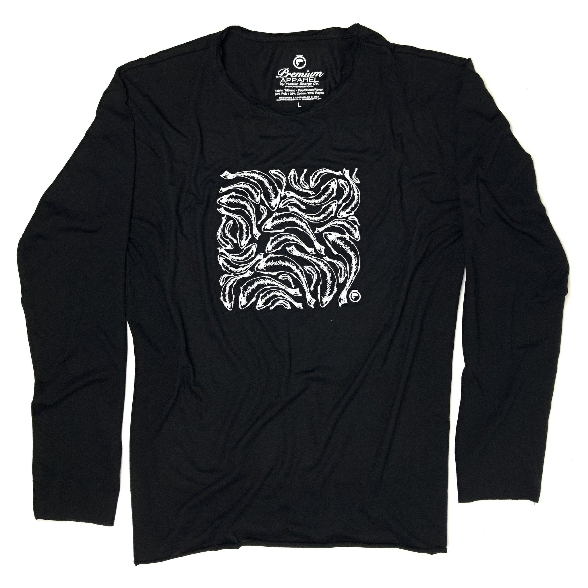 Trout Print LS Rough Neck Tee (Unisex) - Black