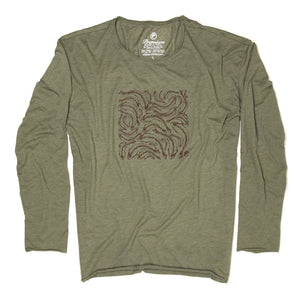 Trout Print LS Rough Neck Tee (Unisex) - Olive
