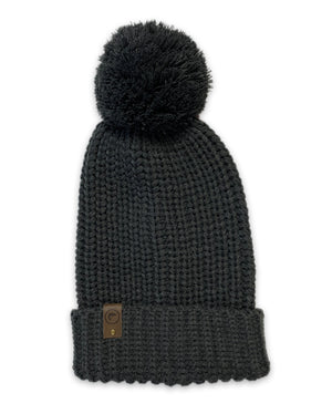 Long Pom Beanie - Charcoal