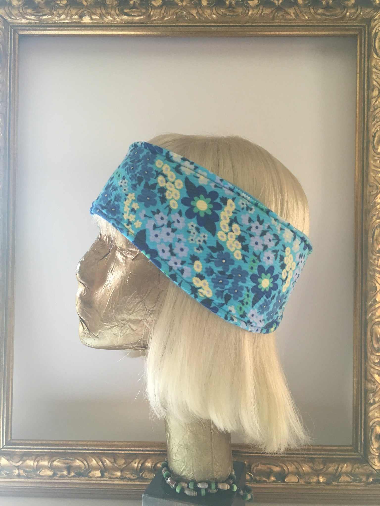 Blue Flower Power Corduroy and Fleece Headband