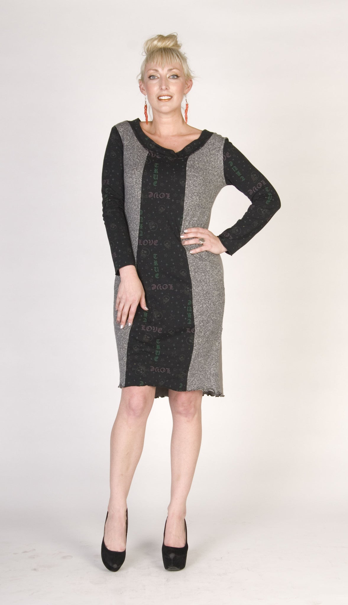 Grey Maneater Dress with Skulls and Subtle Hearts