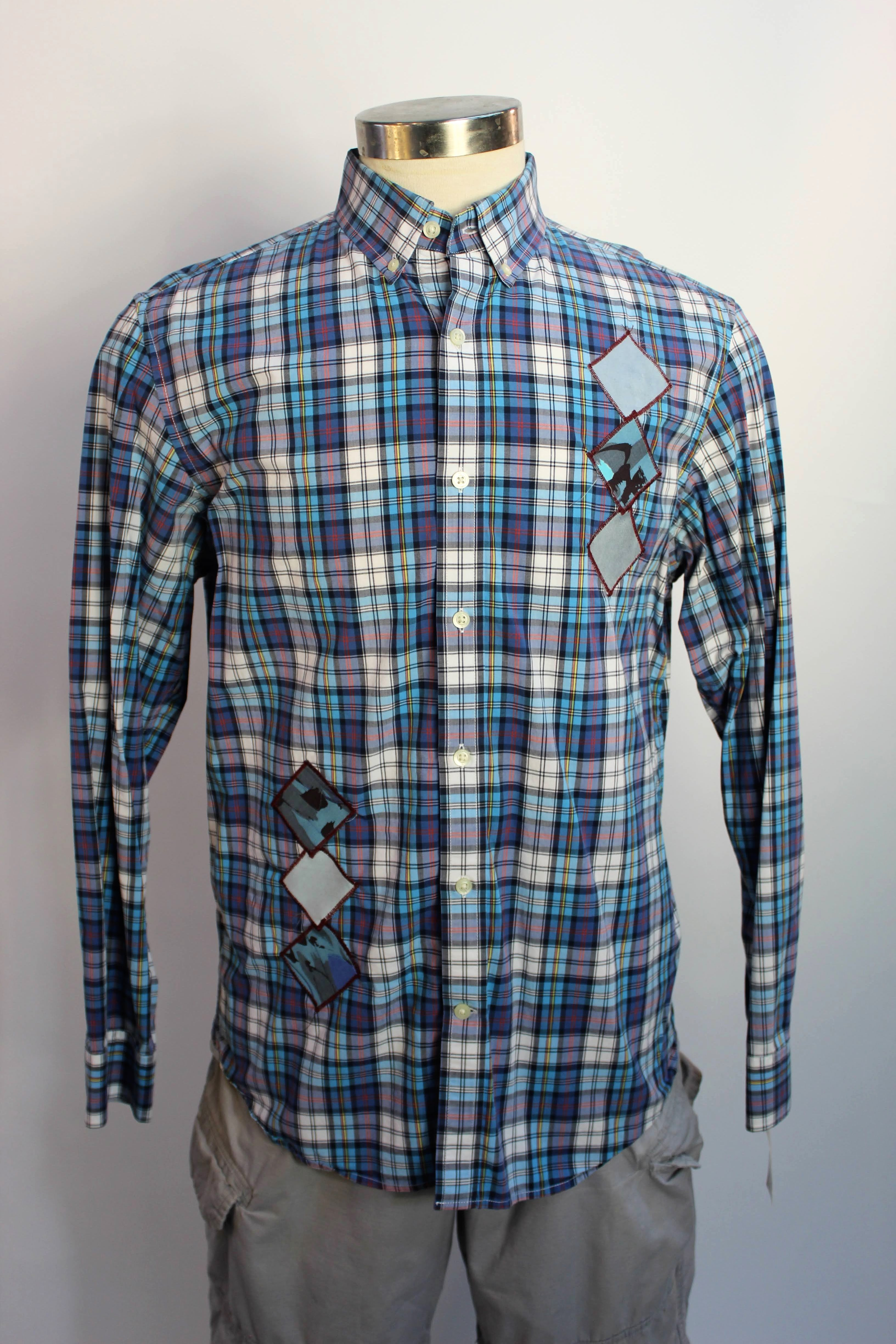 Blue Plaid Long Sleeve with Diamond Details