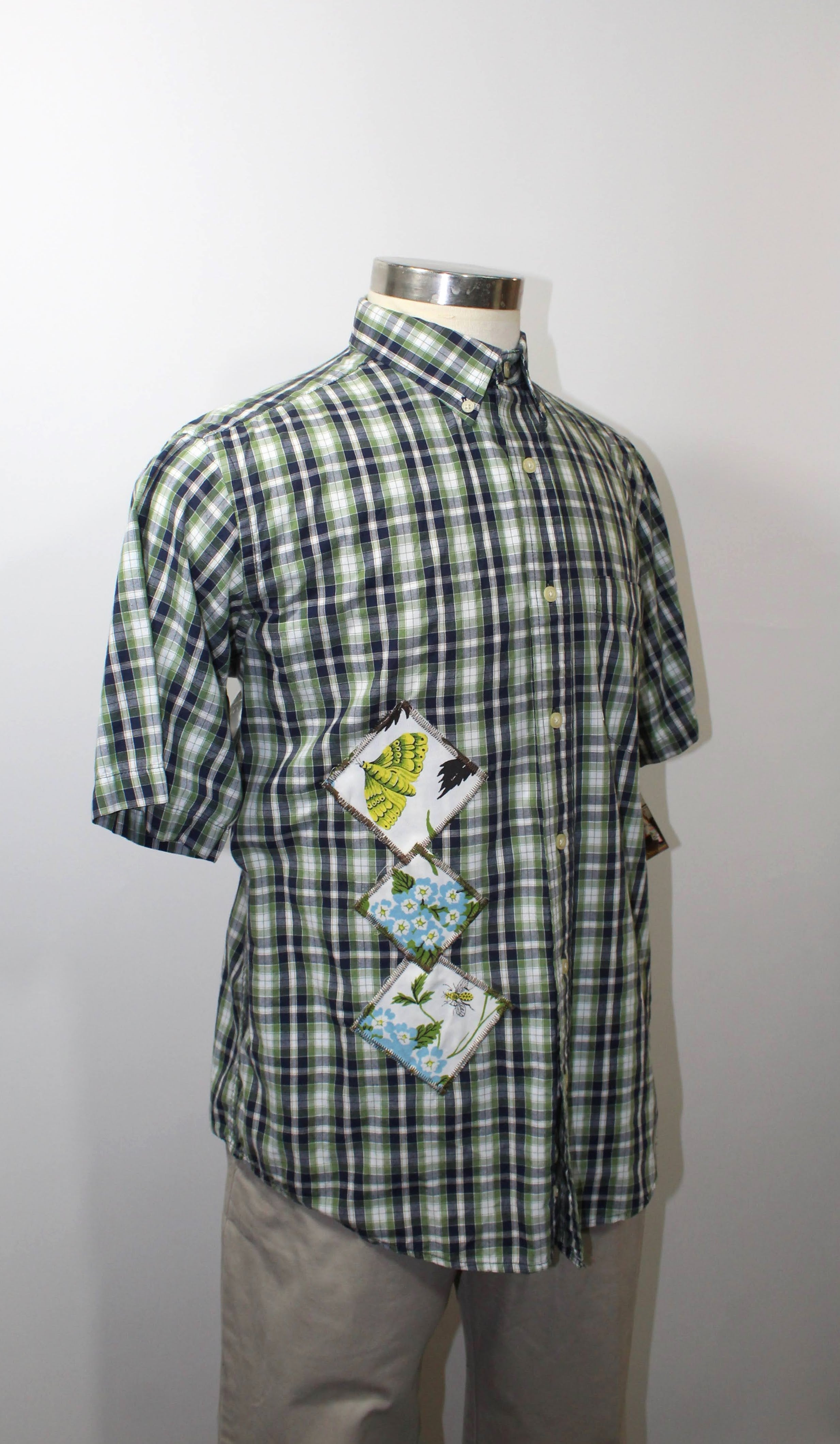 Green and Navy Blue Plaid  Short Sleeve with Abstract Flowers