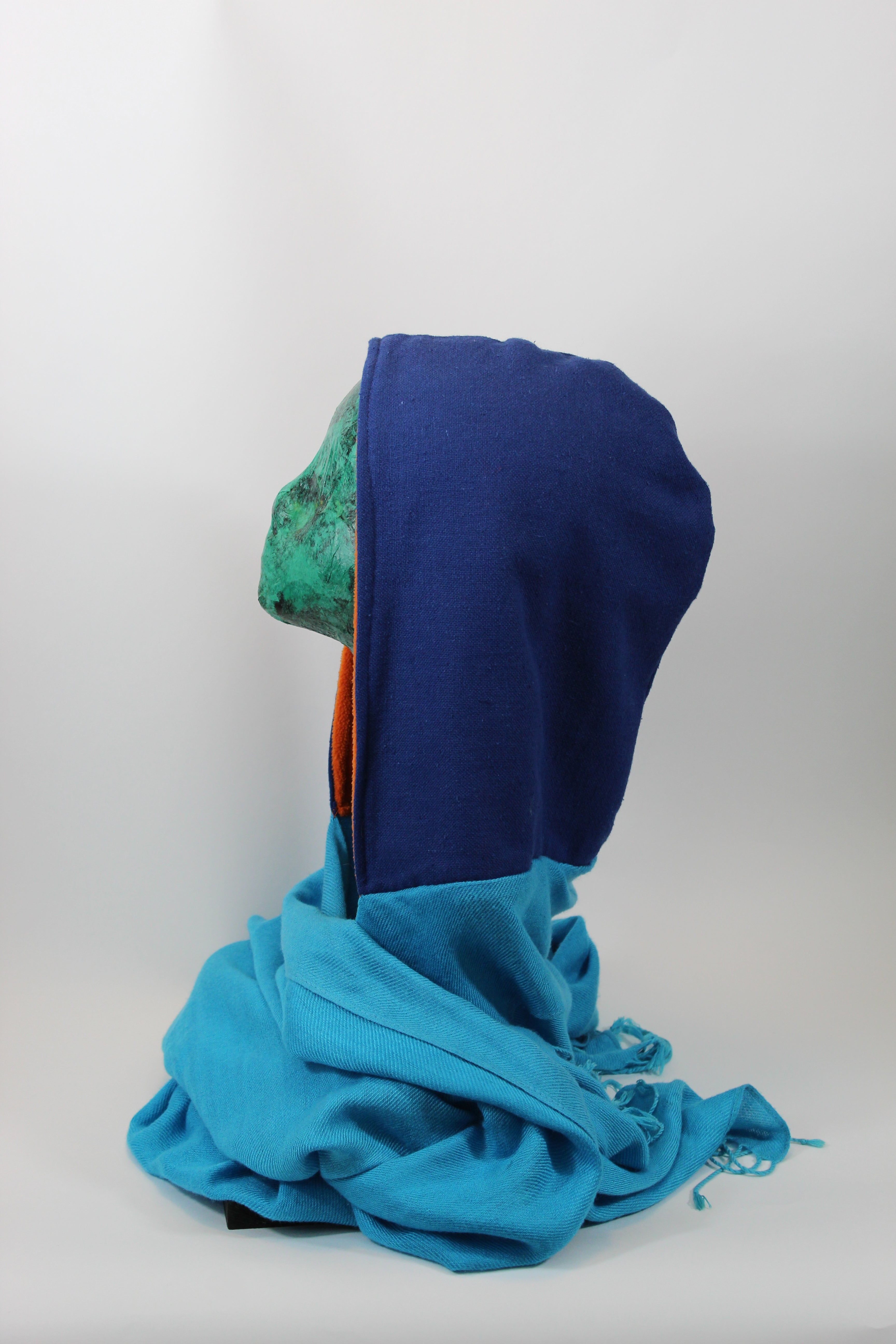 Royal Blue Hoodie Scarf With Orange Lining and Light Blue Standard Scarf