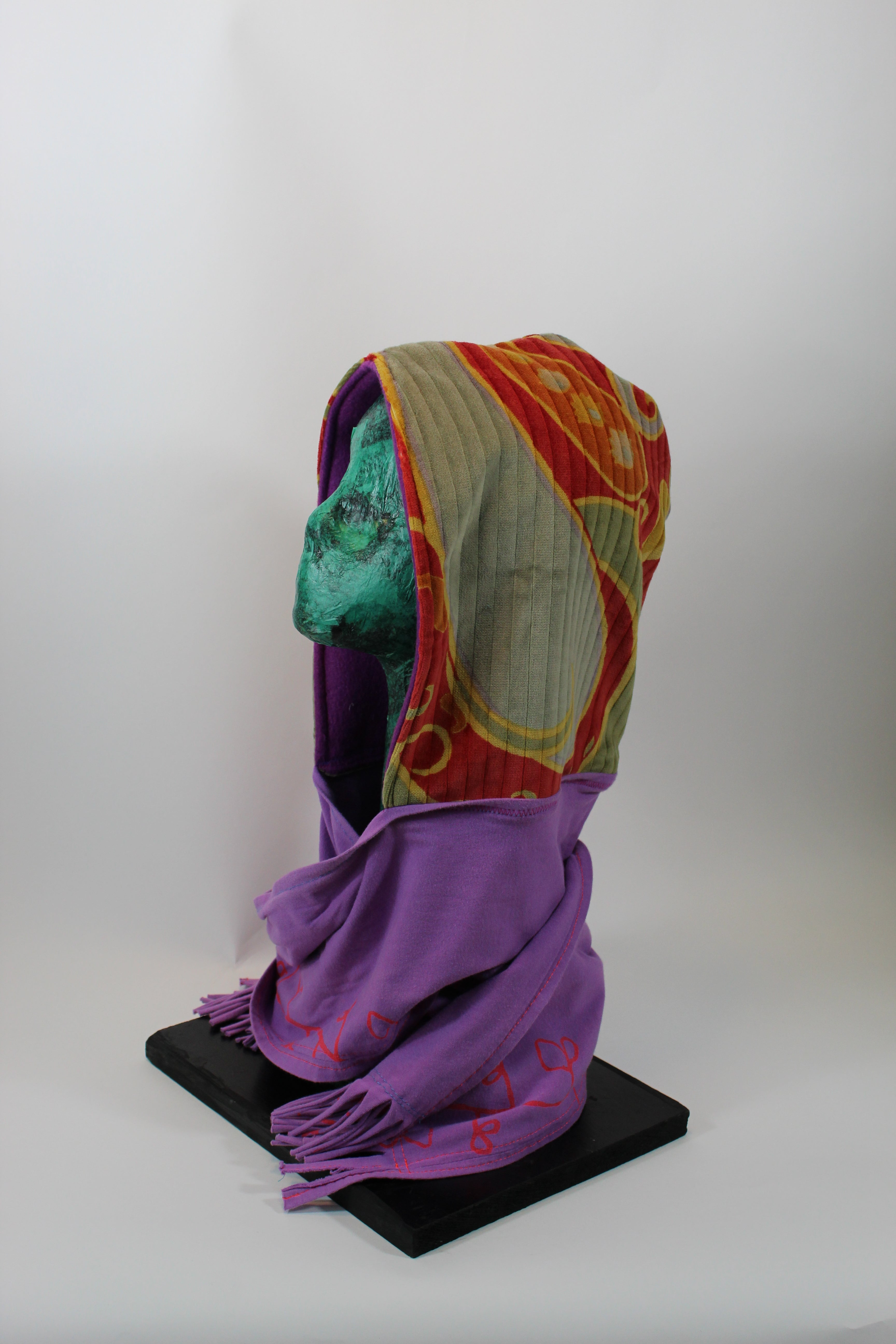 Multicolored Patterned Velour Hoodie Scarf with Darker Purple Lining and Lighter Purple Standard Scarf