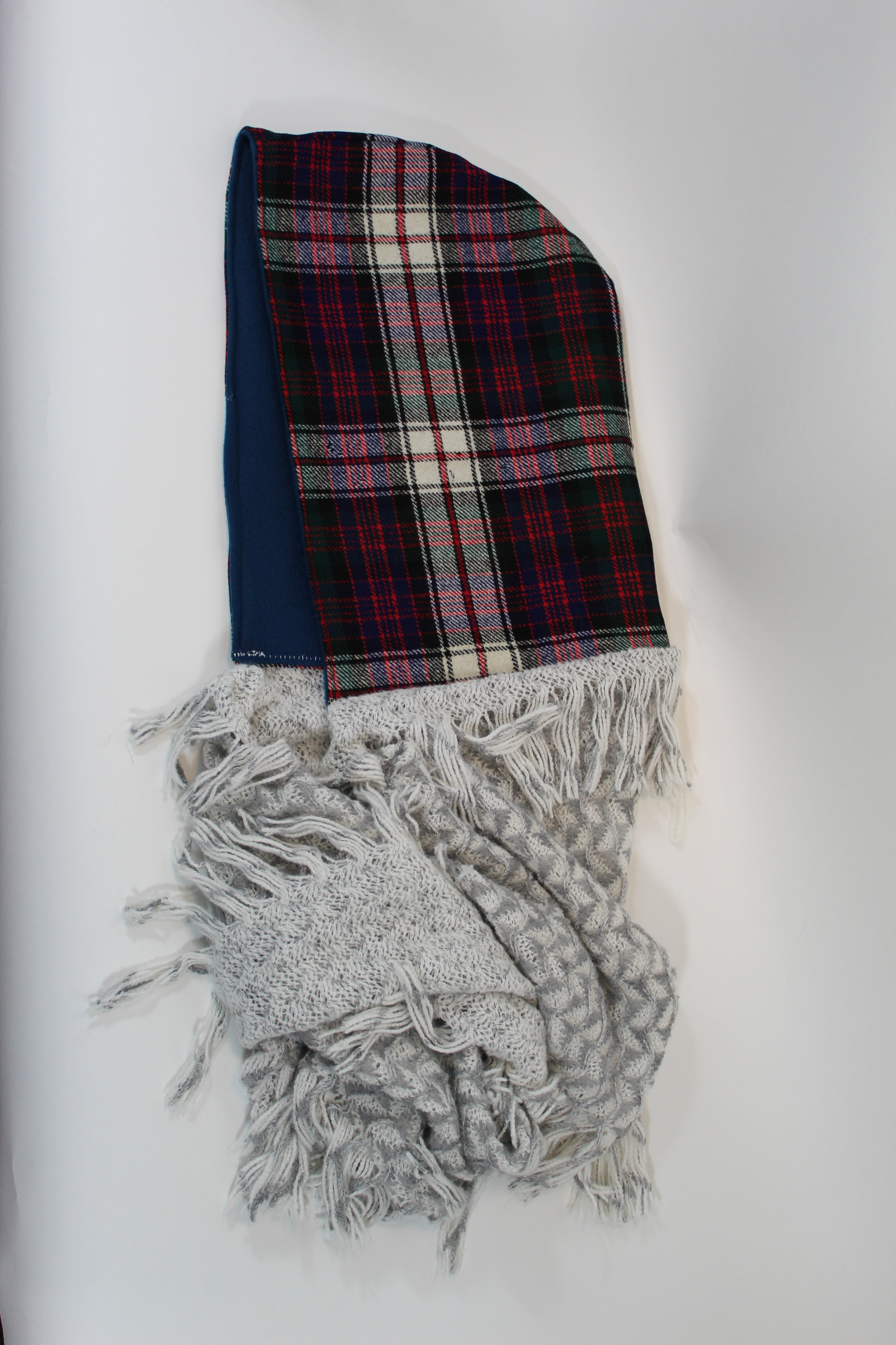 Multicolored Plaid Hoodie Scarf with Blue Lining and White and Grey Knitted Infinity Scarf with Fringe