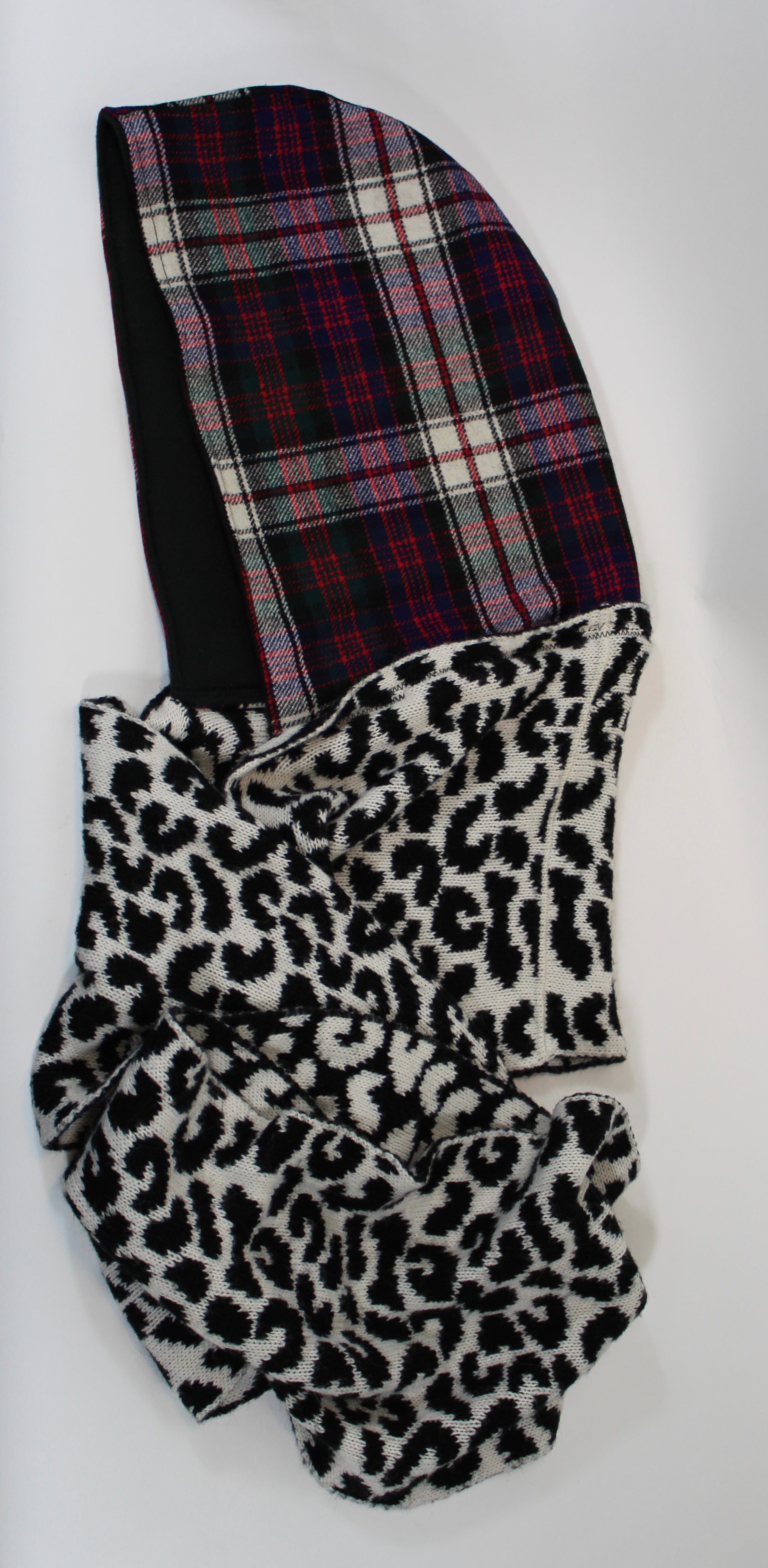 Multicolored Plaid Hoodie Scarf with Black Lining and Black and White Cheetah Print Infinity Scarf
