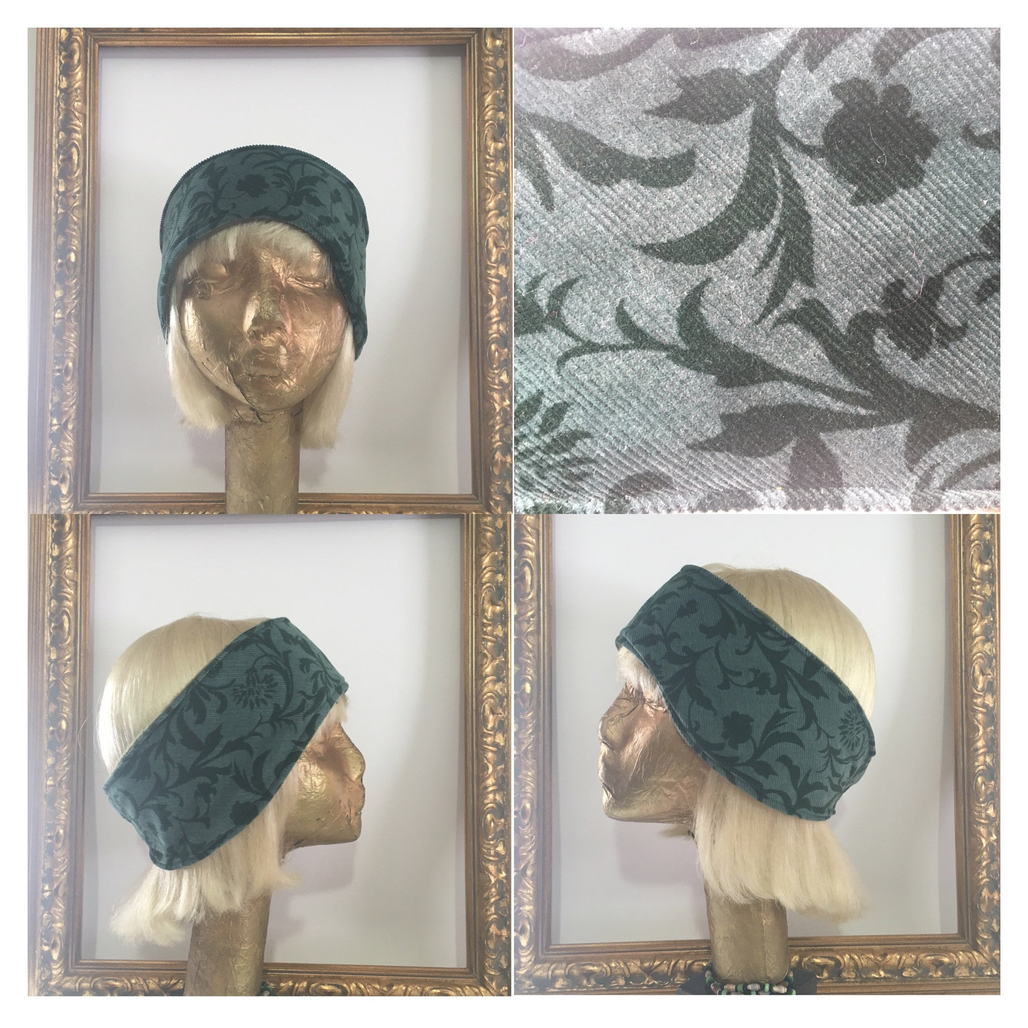 Leafy  Green Corderoy Fleece Headband