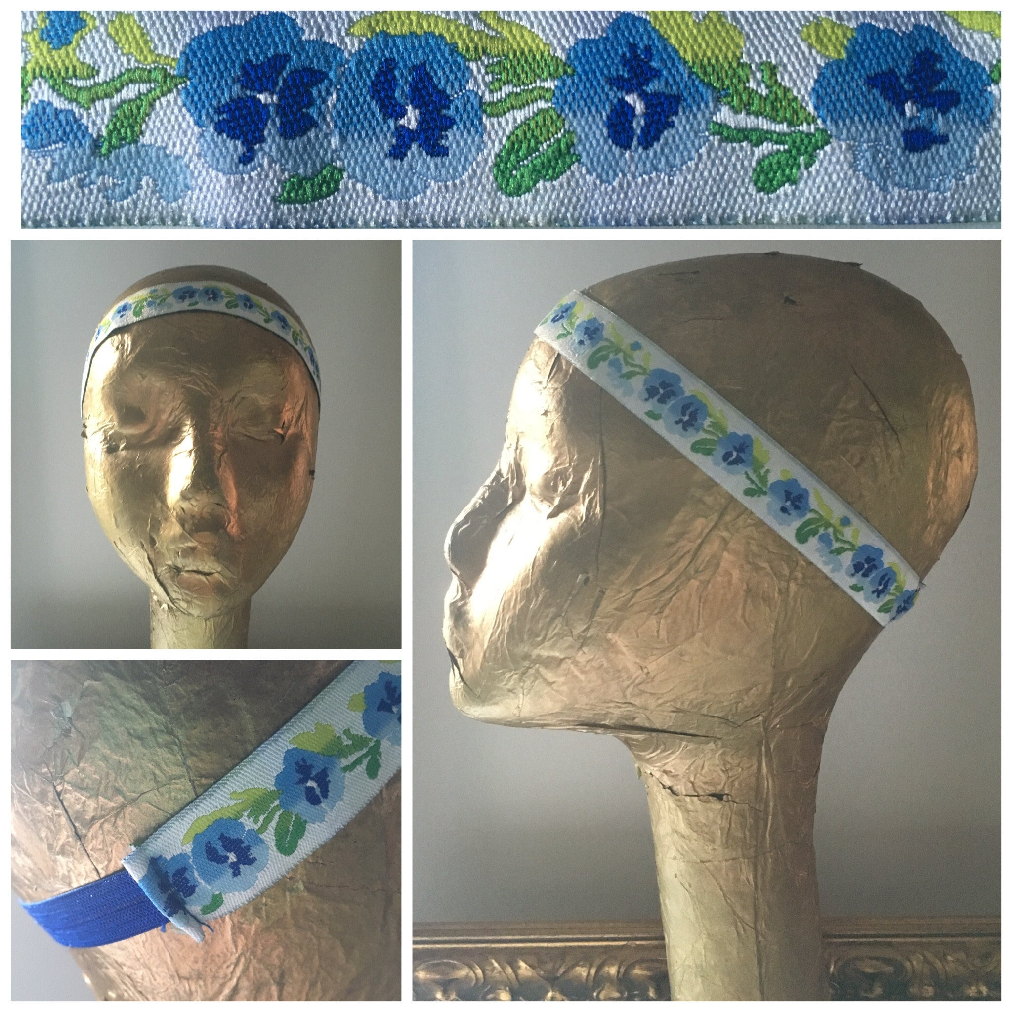 Blue Pansy Flower Headband