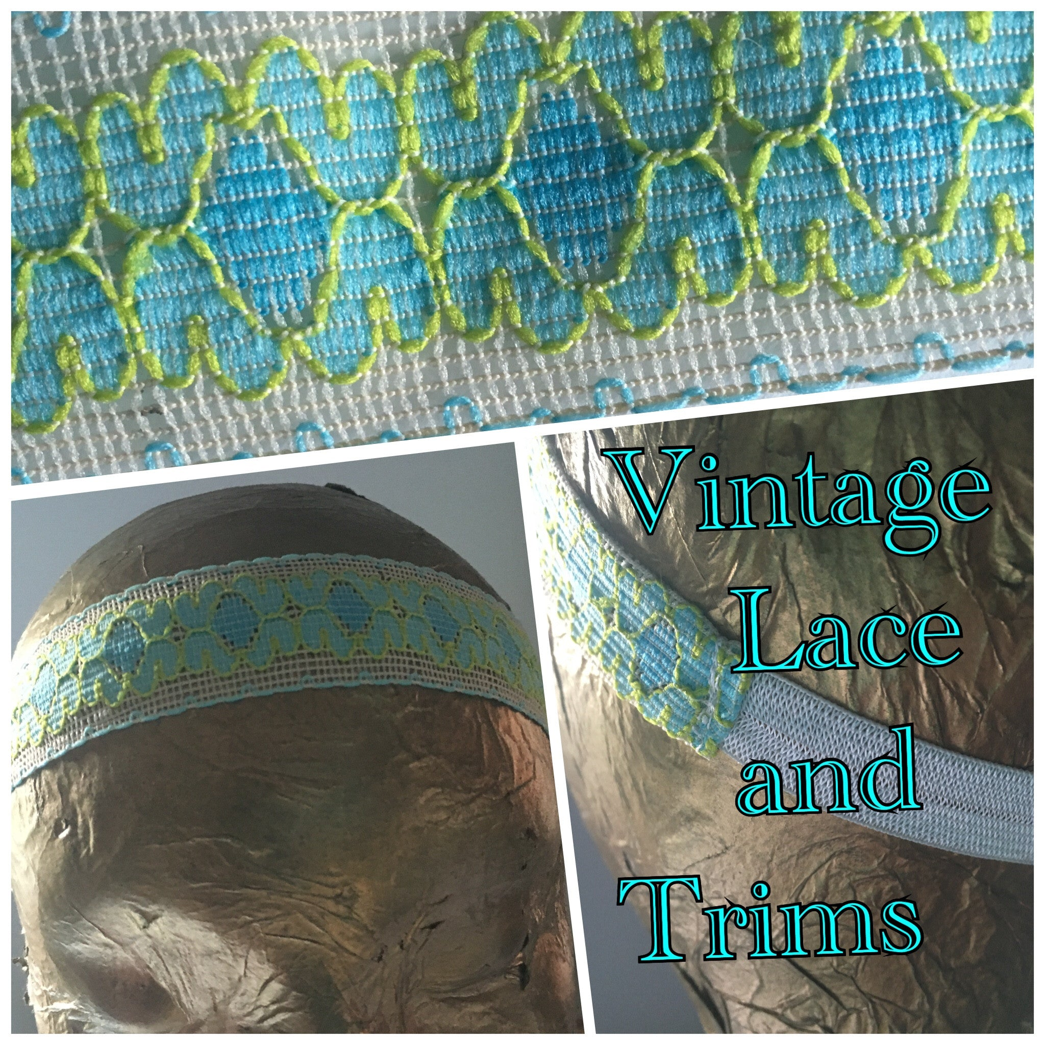 Baby Blue and Leaf Green Lace Headband