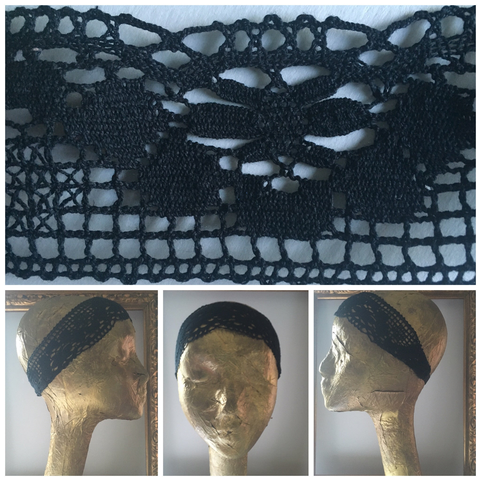 Wide Vintage Black Lace Headband