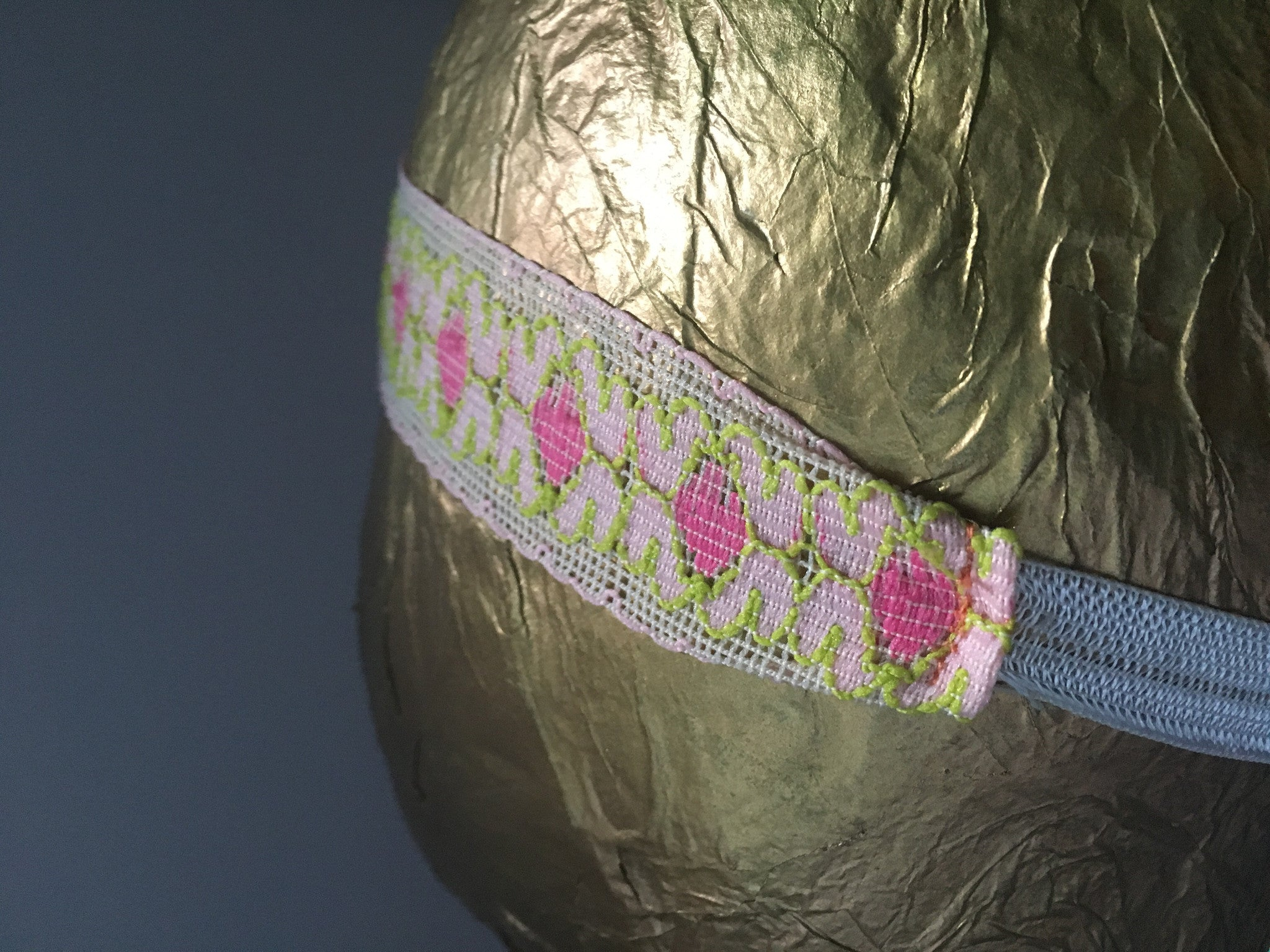 Pink and Leafy Green Lace Headband