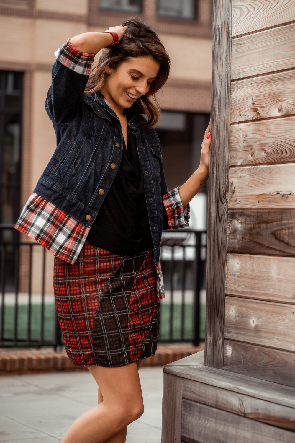 Neapolitan  Red and Brown Plaid Skirt