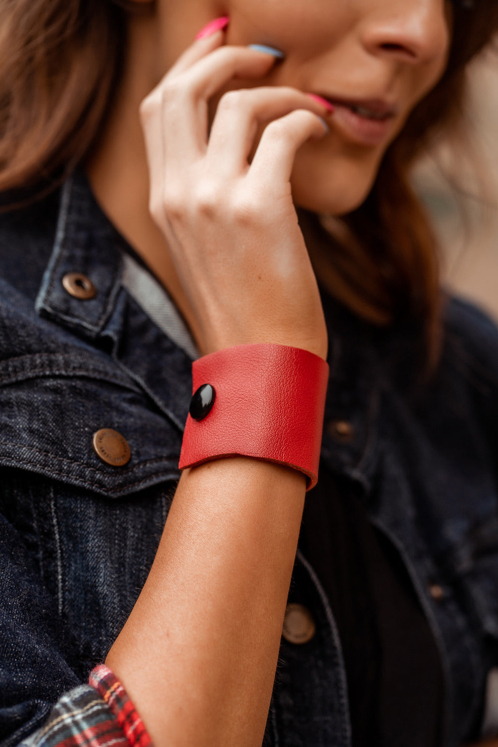 Red Leather Wristband