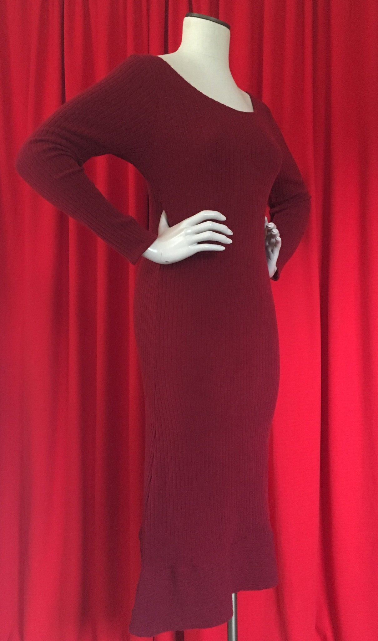 Red Bodycon Sweater Dress