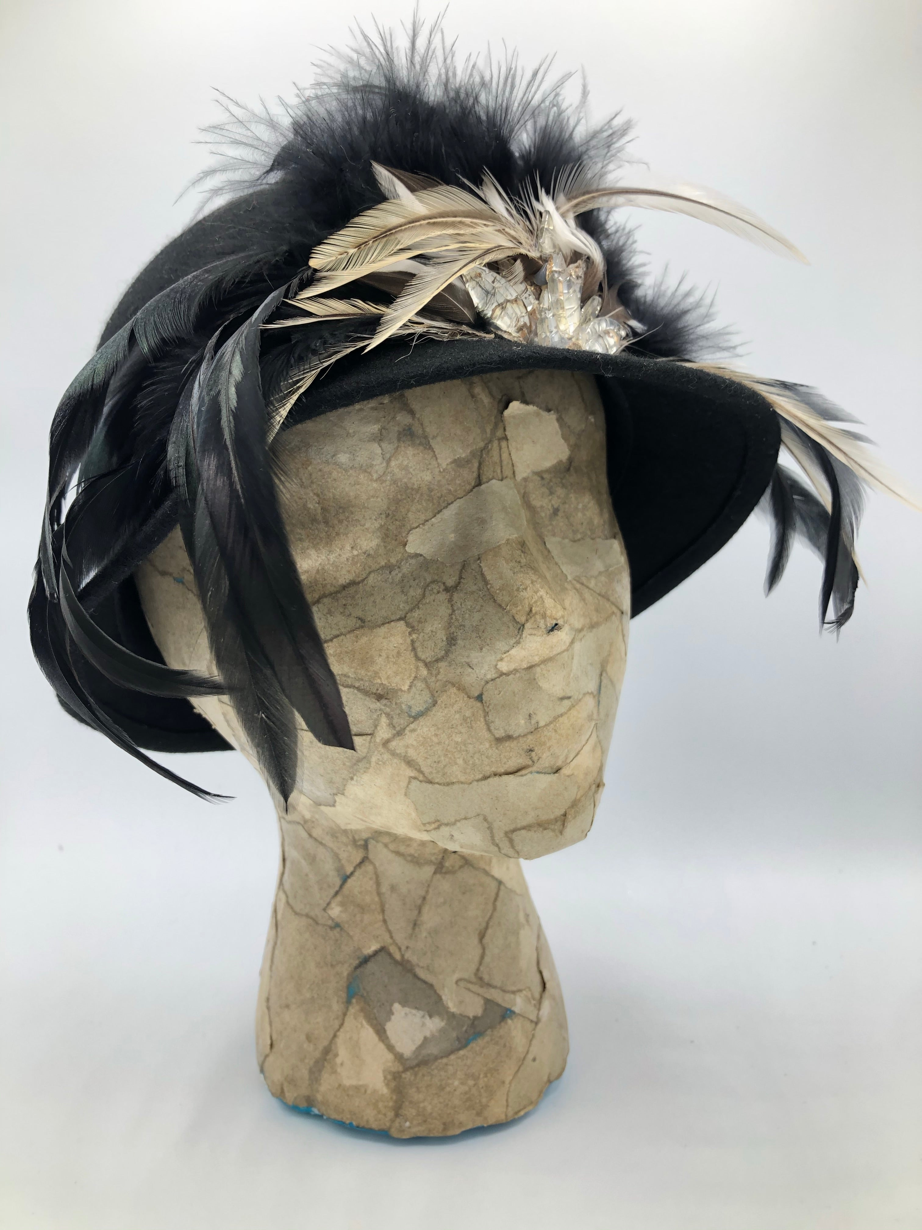 Black Wool Vintage Hat with Rooster feathers and leaf Beads