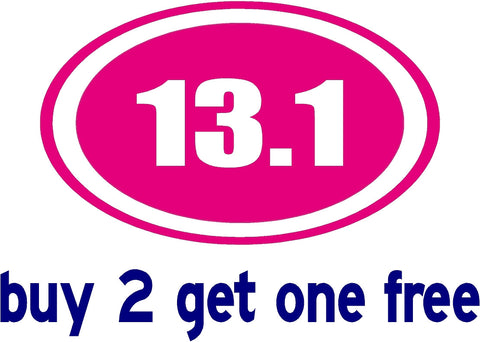 "13.1 Half Marathon Hot Pink - Decal - apx 4""x6"" - GoGoStickers.com"