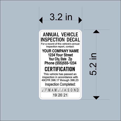 25pk Annual Vehicle Inspection Safety Decal Stickers - Trucks, Trailers, Tankers -Personalized for your company