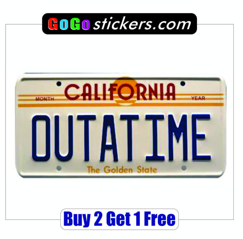 Back to the Future License Plate Sticker - OUTATIME!!  BTTF - GoGoStickers.com