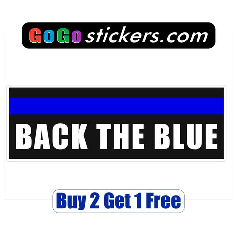 "Back the Blue - Black Background - Rectangle - apx 3"" x 9"" - USA - Patriotic - First Responders - GoGoStickers.com"