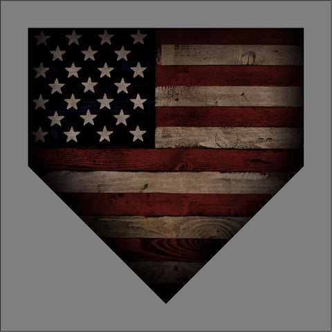 "Barnwood Sports 2019 No Logo - American Flag Home Plate - Baseball - apx 5"" x 5"" - USA - Patriotic - GoGoStickers.com"