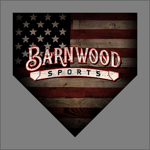 "Barnwood Sports Logo Red Outline 2019 - American Flag Home Plate - Baseball - apx 5"" x 5"" - USA - Patriotic - GoGoStickers.com"