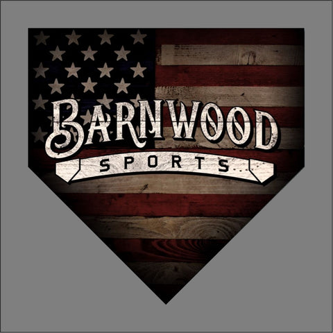 "Barnwood Sports 2019 Logo - American Flag Home Plate - Baseball - apx 5"" x 5"" - USA - Patriotic"