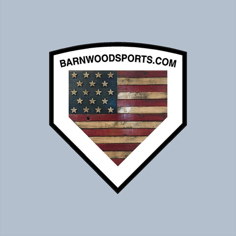 "Barnwood Sports - American Flag Home Plate - Baseball - apx 4""x3.5"" - USA - Patriotic - GoGoStickers.com"