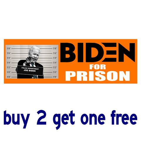 Biden for Prison no date - Anti Biden Sleepy Joe 2020 - Bumper Sticker - Orange Mugshot - GoGoStickers.com